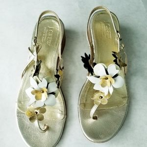 J. Crew gold floral leather sandals size 10